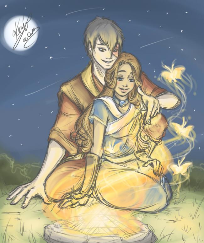Zutara - Campfire by sarumanka