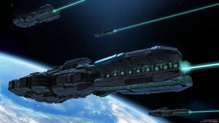 Orbital Defense Laser Ship by Magnum117