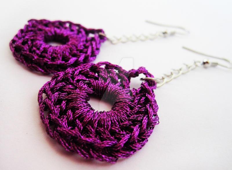 Purple Fantasy Crochet Earrin by HippieFaerie