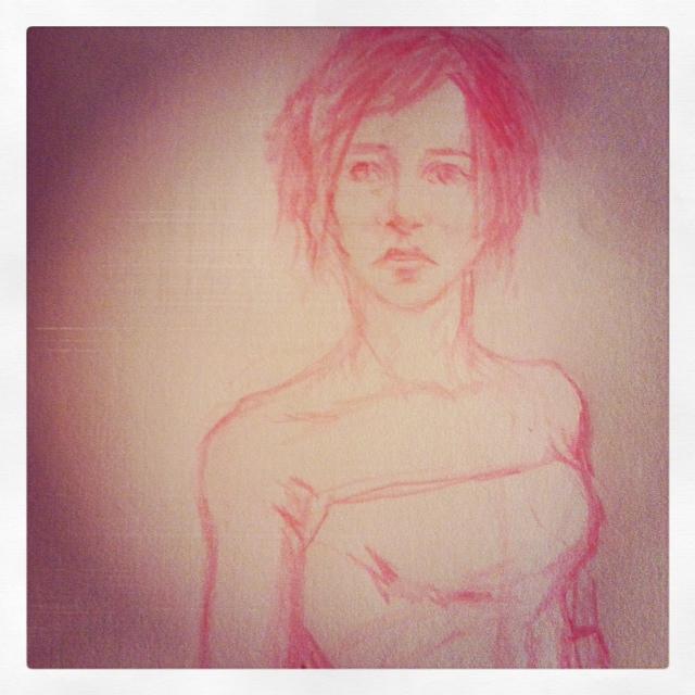 pink pencil chick sketch. in progress. by krylonblue