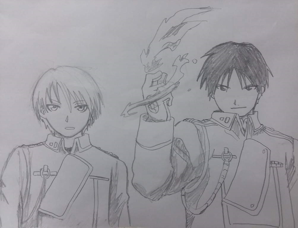 Roy Mustang and Riza Hawkeye Freehand by KarinaKamichi