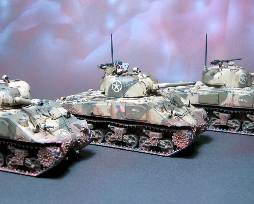 Sherman M4A3 Platoon zoom in by Graveus