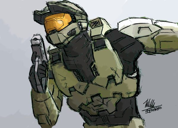 MasterChief Charge Into Battle by Willatorx