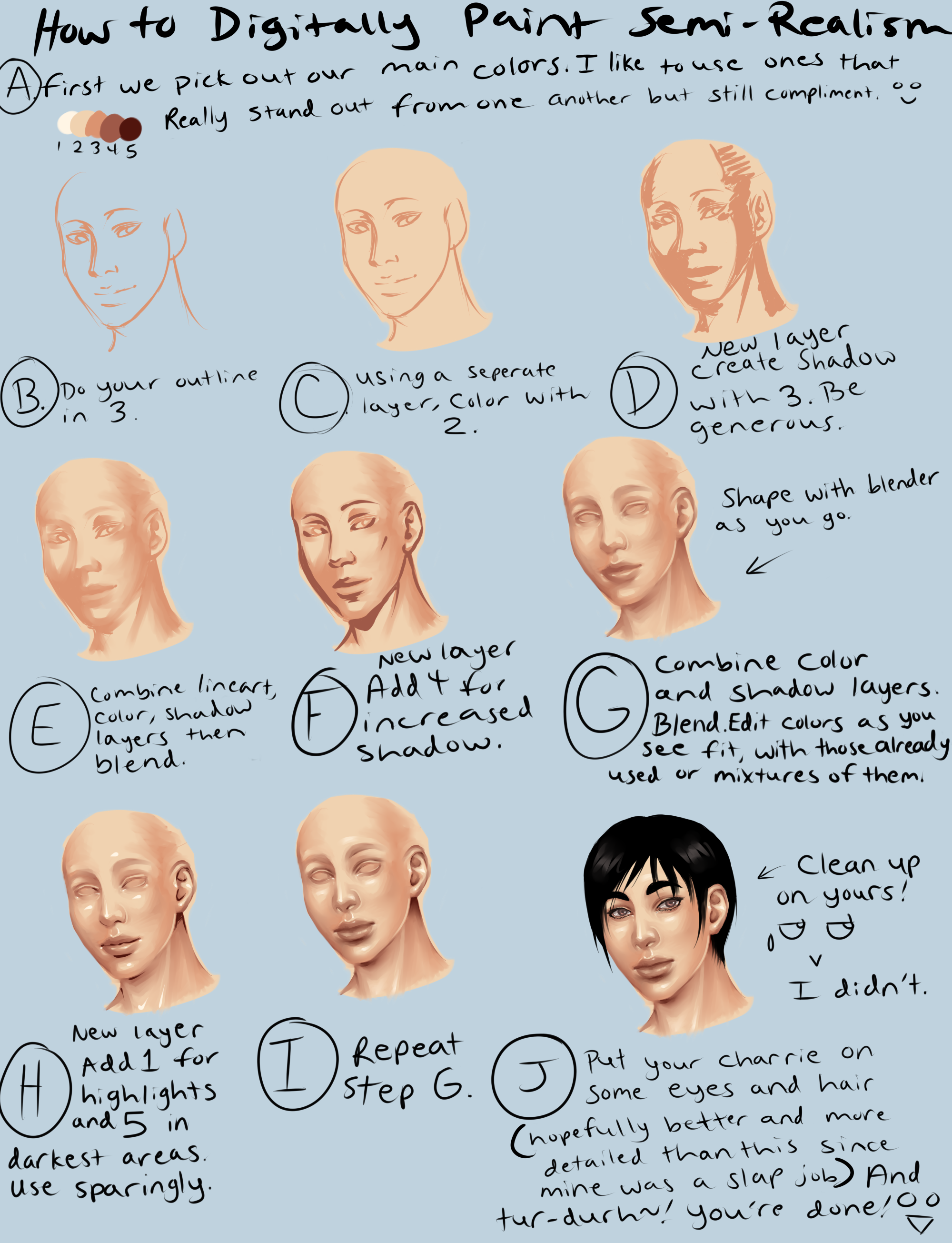 Digital Semi Realism Skin Tutorial By Thecomicstream On