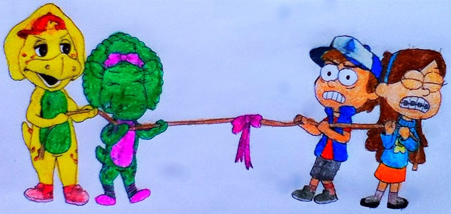 BJ and Baby Bop VS Dipper and Mabel in Tug Of War by BestBarneyFan