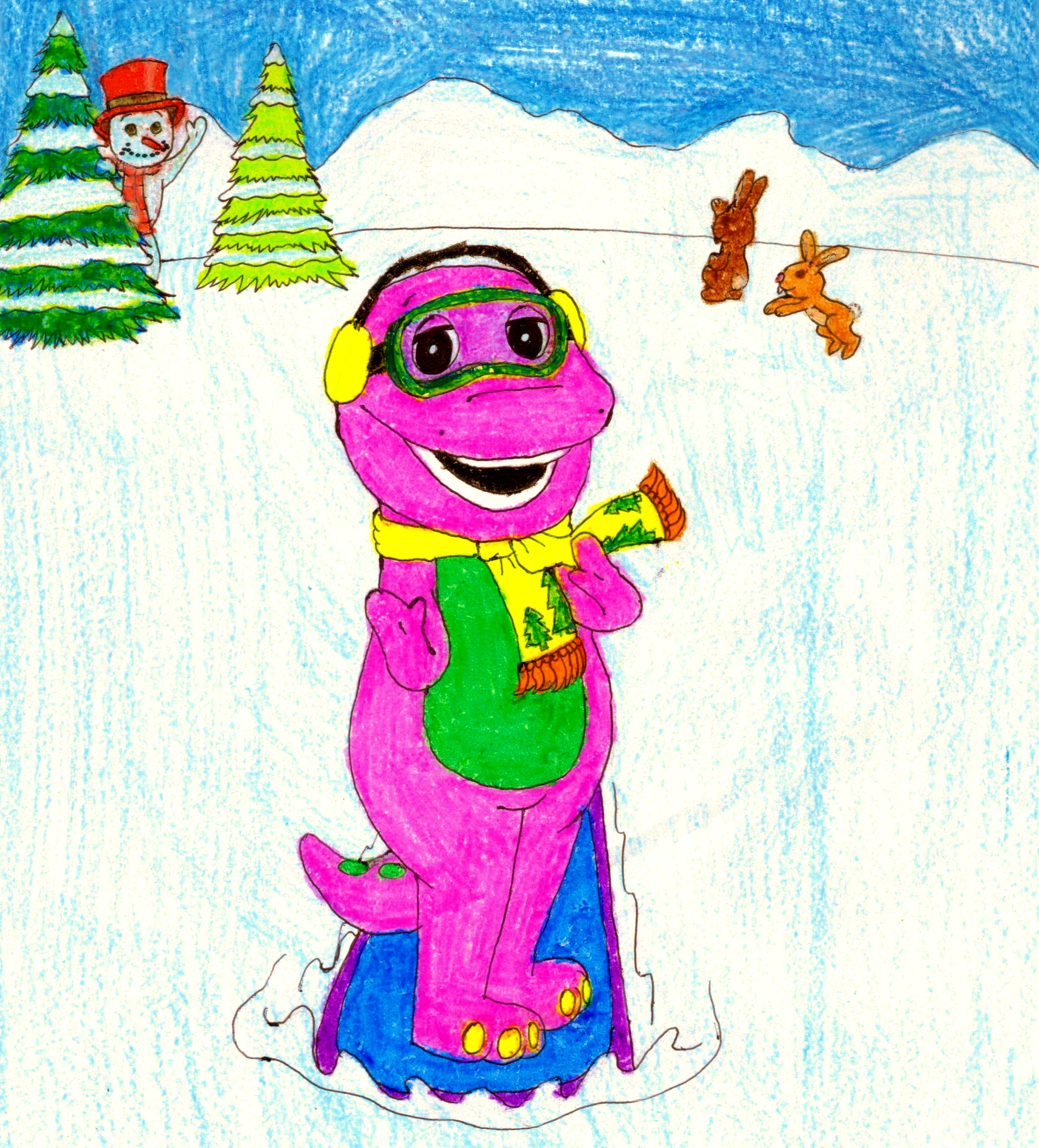 Barney And The Backyard Gang A Day At The Beach: Barney Goes Snowboarding By BestBarneyFan On DeviantArt