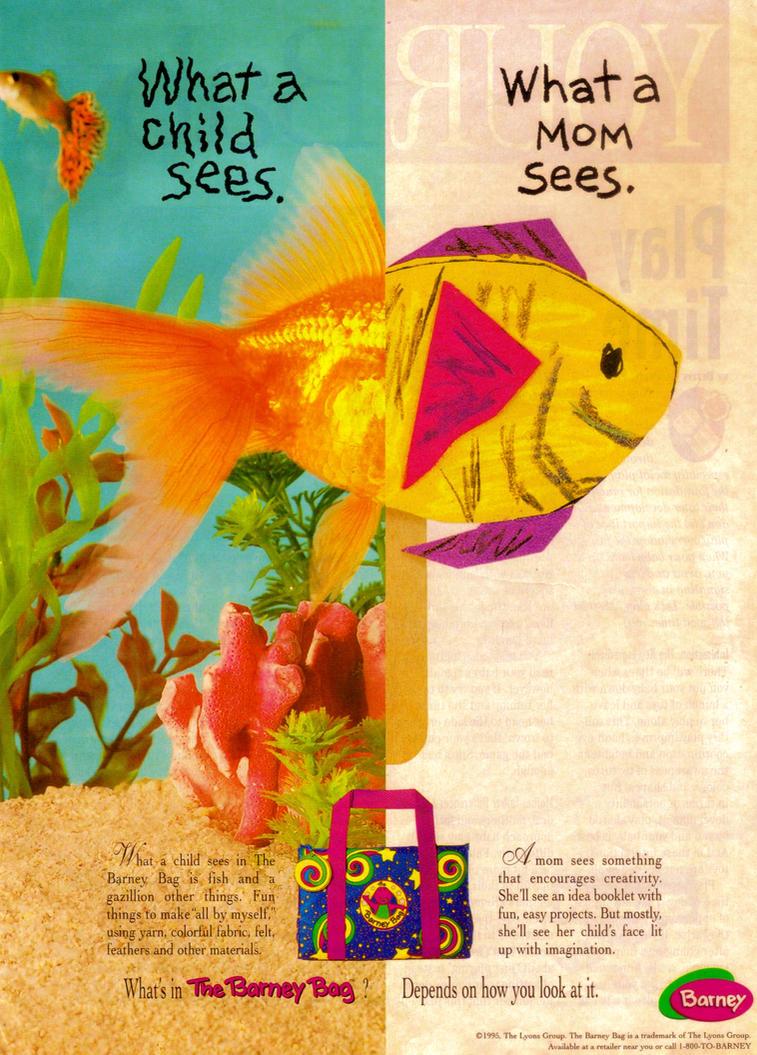 the barney bag ad 1996 by bestbarneyfan on deviantart