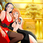 Robin and Nami in evening dresses