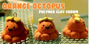 Polymer Clay Orange Octopus