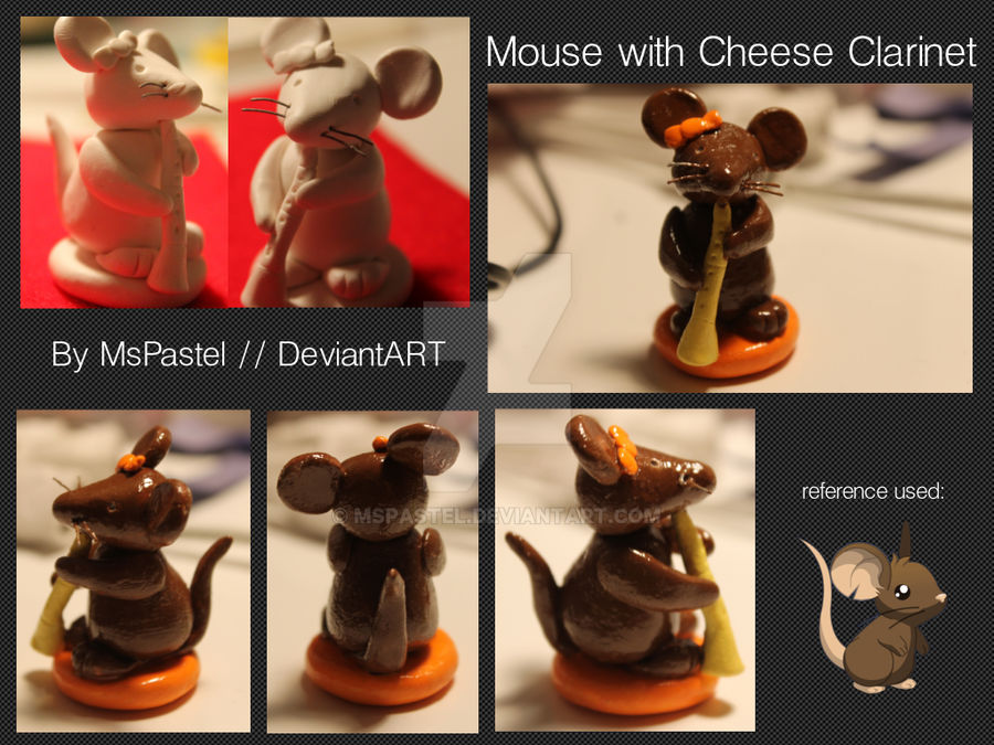 Polymer Clay Mouse with Cheese Clarinet