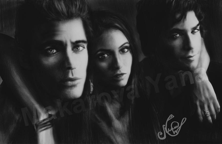 Nina Dobrev And Paul Wesley Kissing Off Set Paul  Nina  Ian  by Makarova17