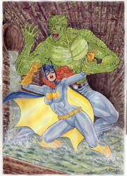 Batgirl Vs Killer Croc by gregohq