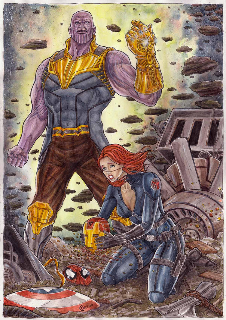 Thanos Vs Black Widow by gregohq