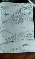 Handdrawn Map of a Desert World
