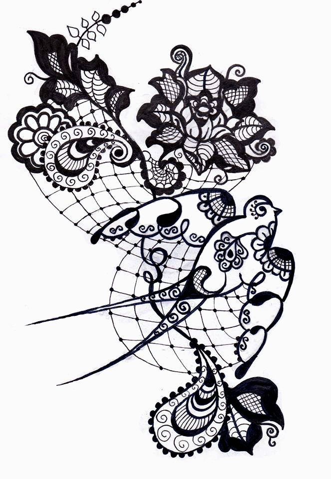 Lace Flowers Drawings Lace Tattoo Drawing