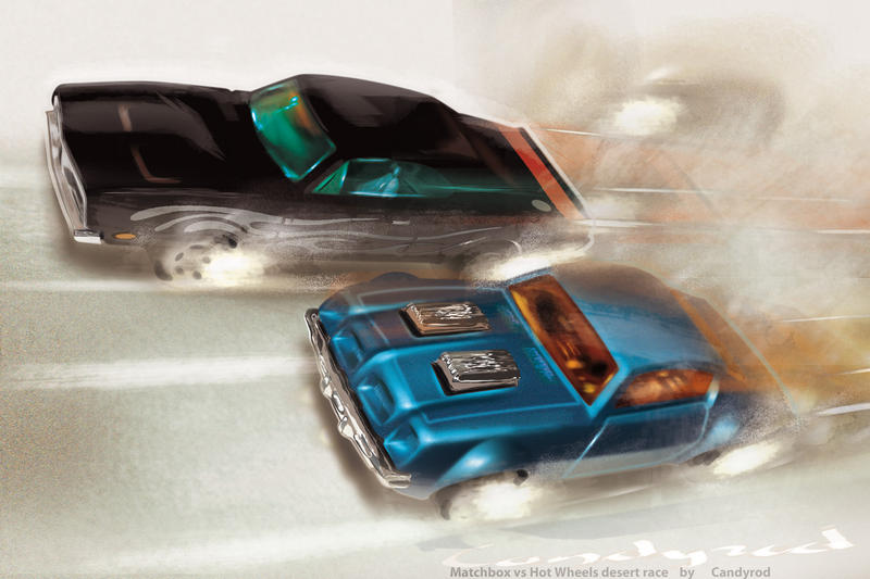 Matchbox vs Hot Wheels art by candyrod