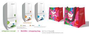 Refrigerator and shopping bag design
