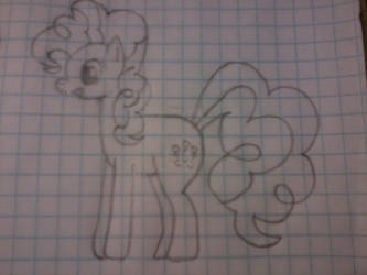 My hand-drawn Pinkie Pie in profile view llama by The1Zenith