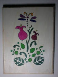Stencil of primative still-life with dragonfly by The1Zenith