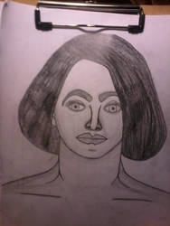 Pencil drawn head from artistic nude model by The1Zenith