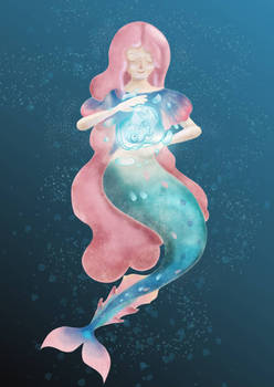 Digital watercolor mermaid