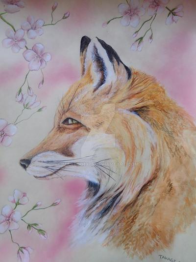 Fox and Sakura by martoo1973