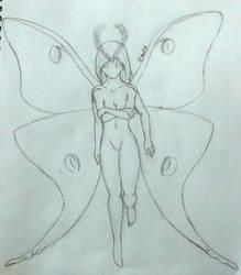 Luna Moth Sketch by AceKattalakis
