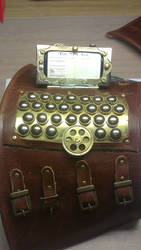 Steampunk wrist computer data bank