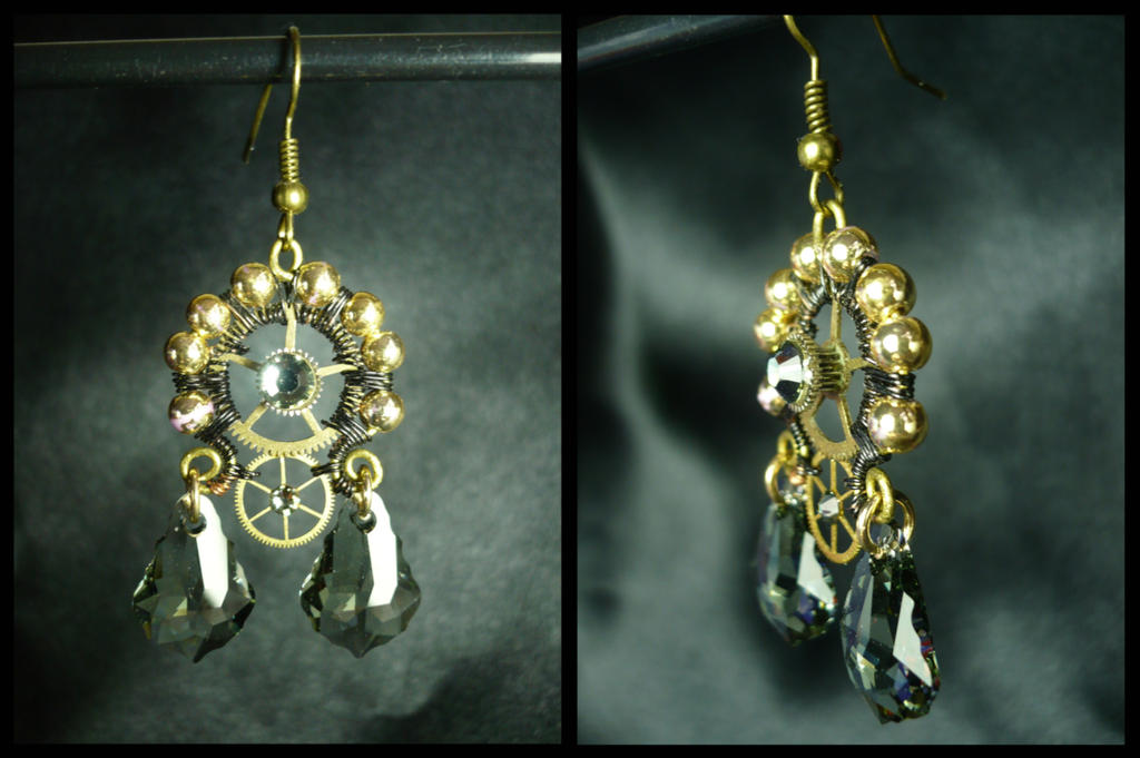 ''Black Crown''  Steampunk earrings by Arsenal-Best