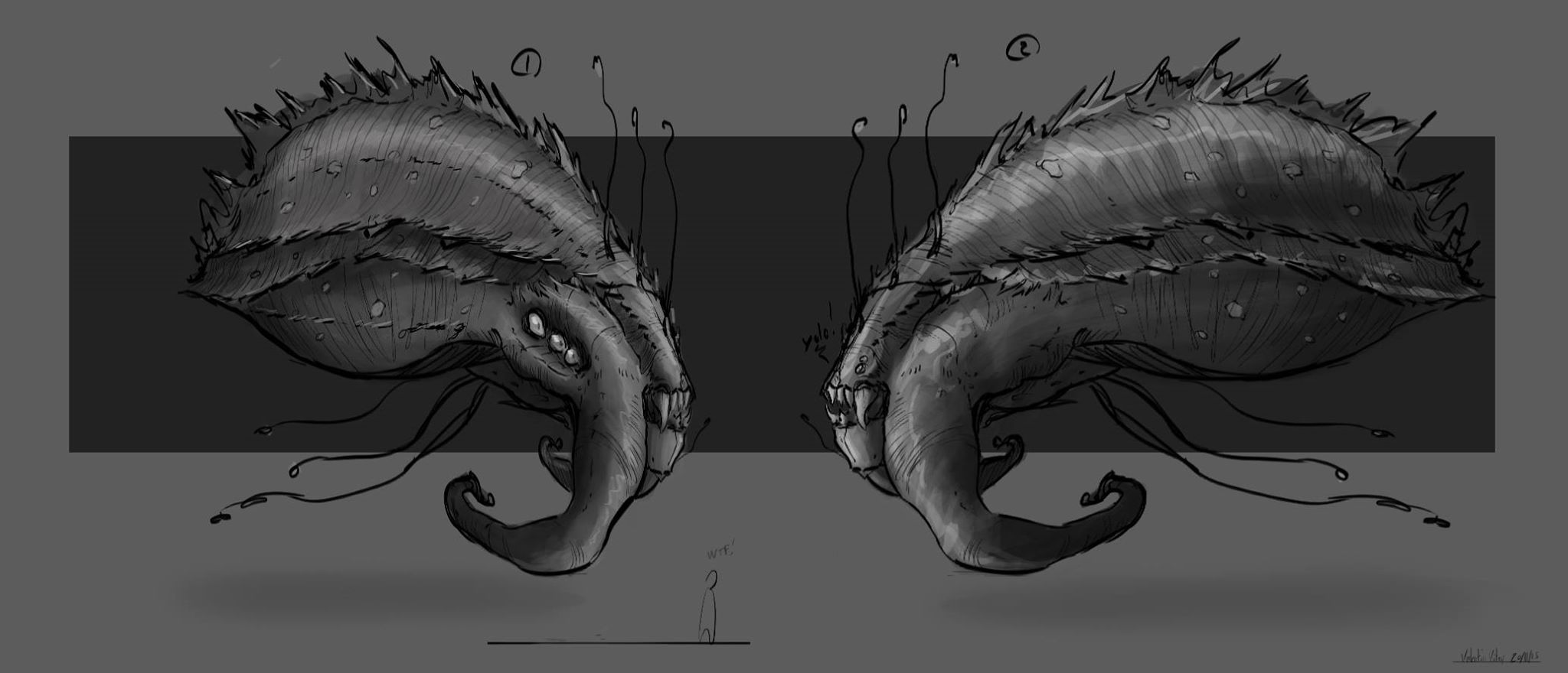 Sea monsters concept art by valentinvitry on DeviantArt