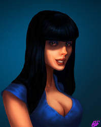 Bust of girl-blue by februaryan
