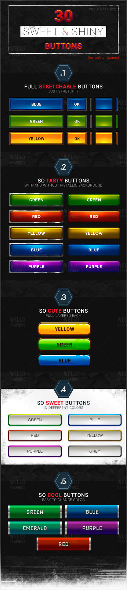 30 SWEET and SHINY BUTTONS pack by Perfomer
