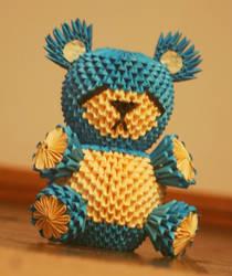 3D Origami Sad Blue Bear