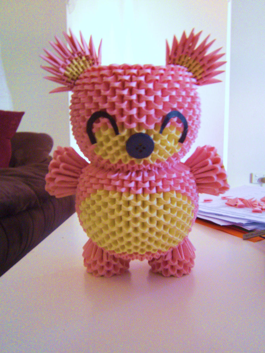 3d origami pink teddy by onelonetree on deviantart