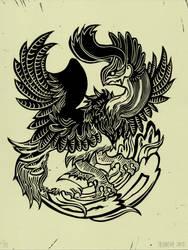 Dragon/Phoenix Linocut
