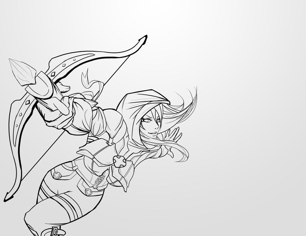 Demon Hunter Line Art by InkDrone