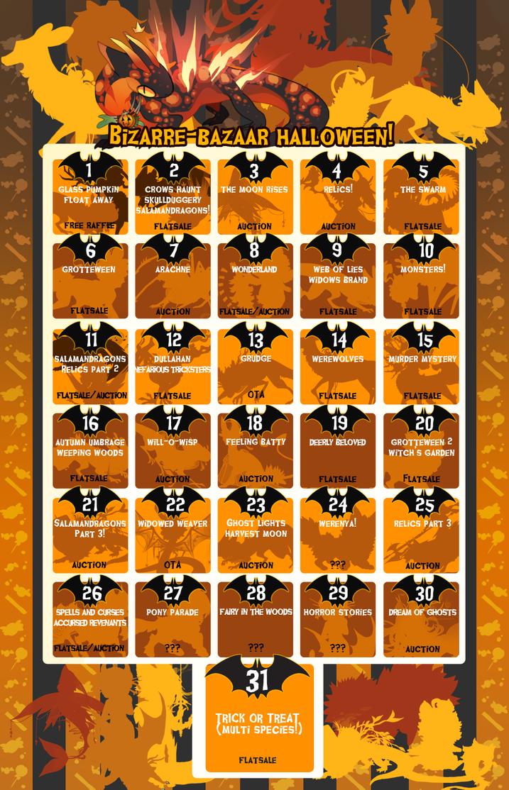 bizaare bazaar halloween calendar event schedule by sordid dessert