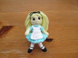Alice in Wonderland Mini Crochet Doll by fourthimbles