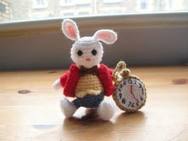 White Rabbit Mini Crochet Doll by fourthimbles