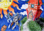 Rainbow dash with Siwy Oc in the space