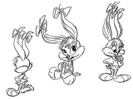 Babs Bunny pre production model sheet 2 by Rabbette