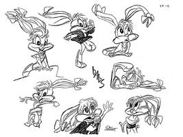 Babs Bunny pre production model sheet 4 by Rabbette
