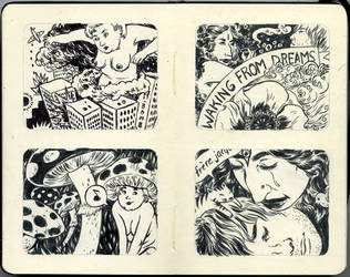 Moleskine Pages 6 and 7 by okchickadee