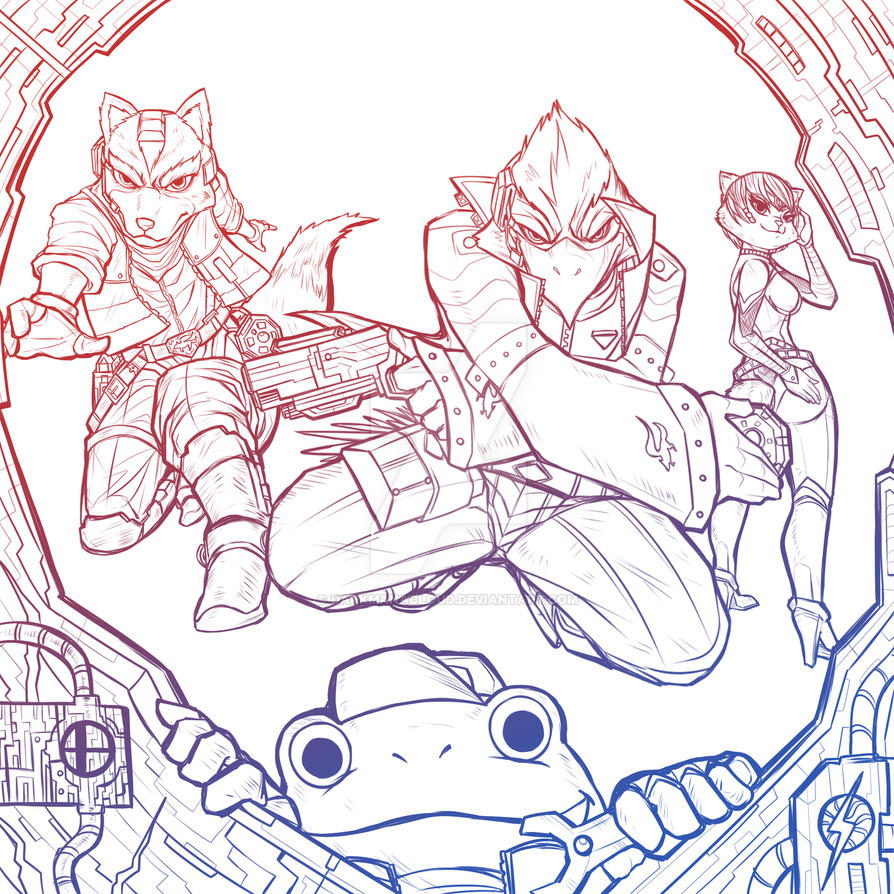 Star Fox - Mission Complete Line Art by darkmanacloud
