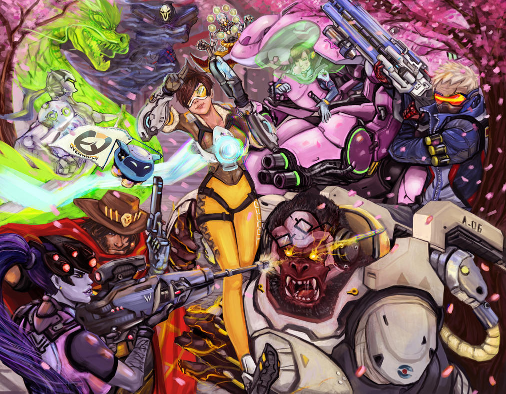 Overwatch - Falling of the Cherry Blossoms by darkmanacloud