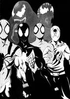 Spider men and symbiots by hin82