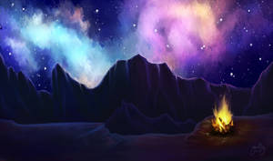 Commission: Campfire under stars