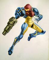 Samus Aran Watercolor by Alarmaes