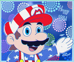 Happy Independence Day with Mario!! by SupremeKhi