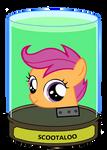 Scootaloo head in a jar